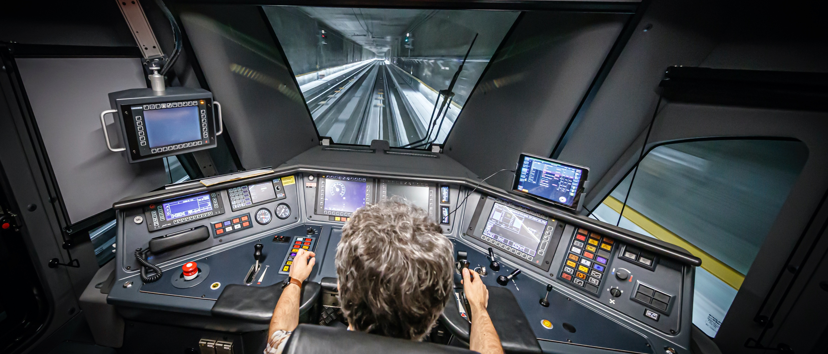 View from within the drivers cabin of a modern train
