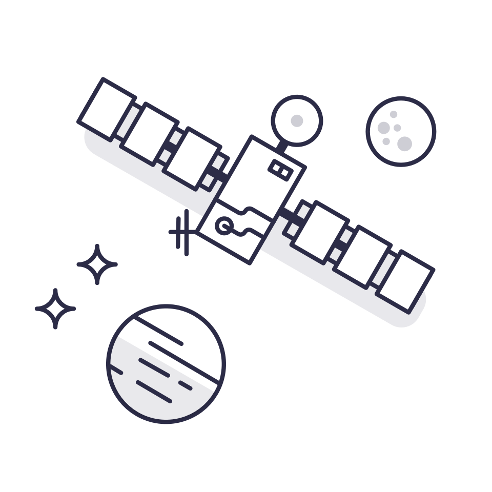 Illustration of a satellite with stars and planets