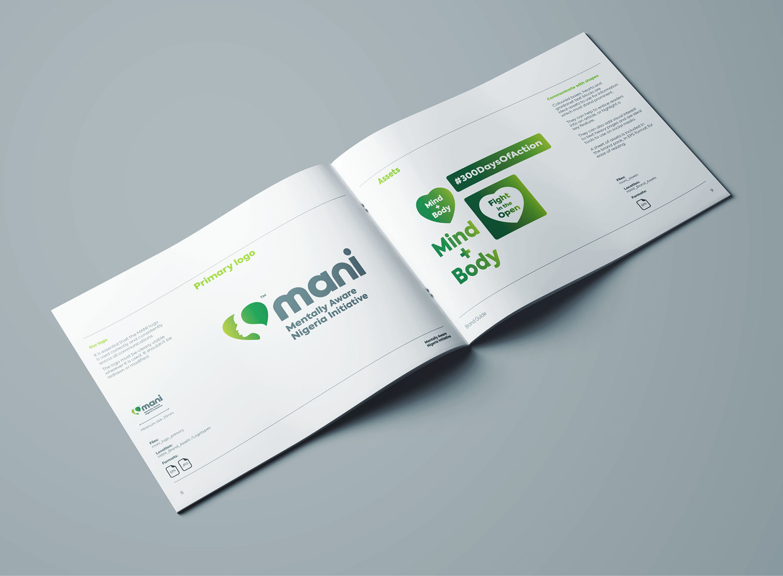 brand style guide design for a mental heath charity