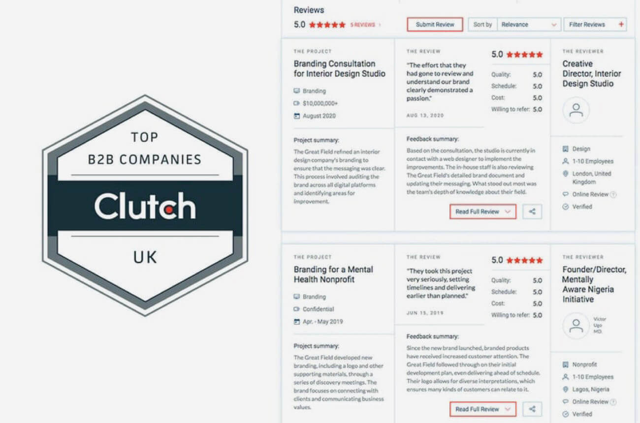 Five stars on Clutch! Thank you clients!
