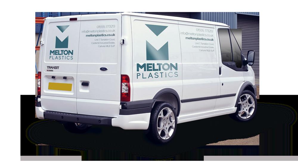 Melton Plastics vehicle livery Skein Agency digital design marketing Glasgow