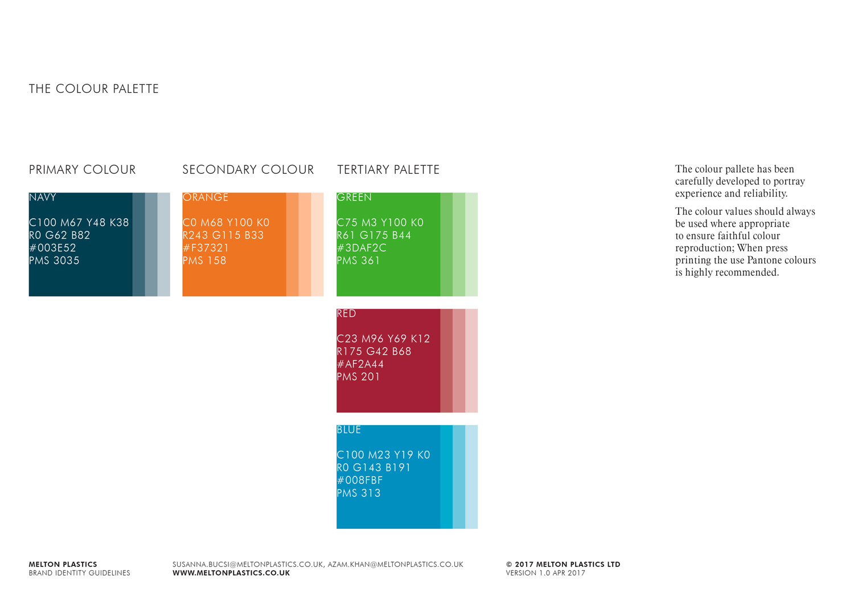 Melton Plastics colour palette Skein Agency digital design marketing Glasgow