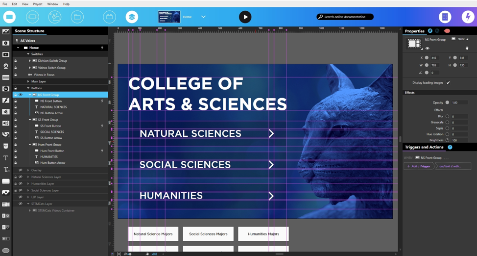 View of a Scene in the Intuiface Composer showing an experience made for the University of Kentucky