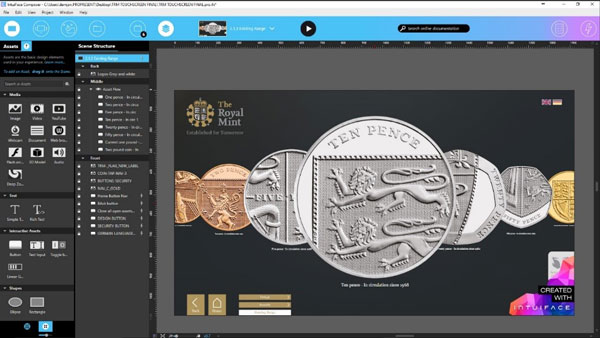 Intuiface Composer showing the Royal Mint Interactive experience