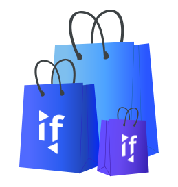 Shopping bags representing the Intuiface Marketplace where any partner can make any experience available on the marketplace for free