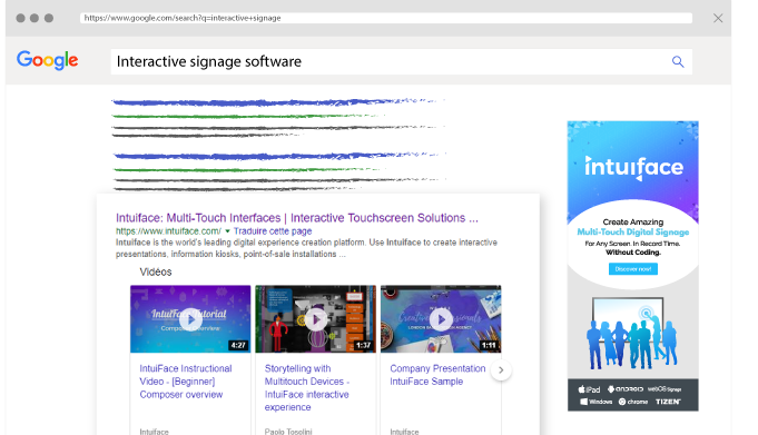 """Intuiface website on Google SERP with """"Interactive Signage Software"""" keyword"""