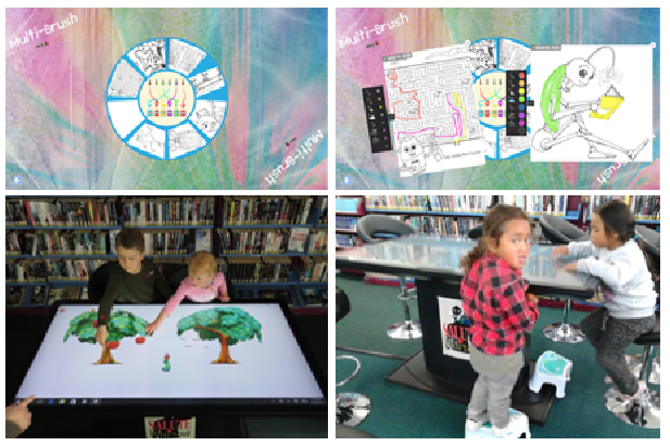 Kids in the Library using the multi-touch table and interacting with an Intuiface experience