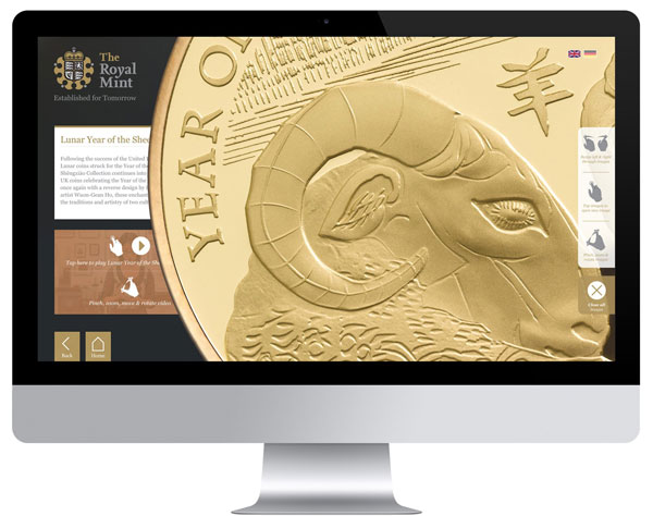 Royal Mint Interactive experience made with Intuiface