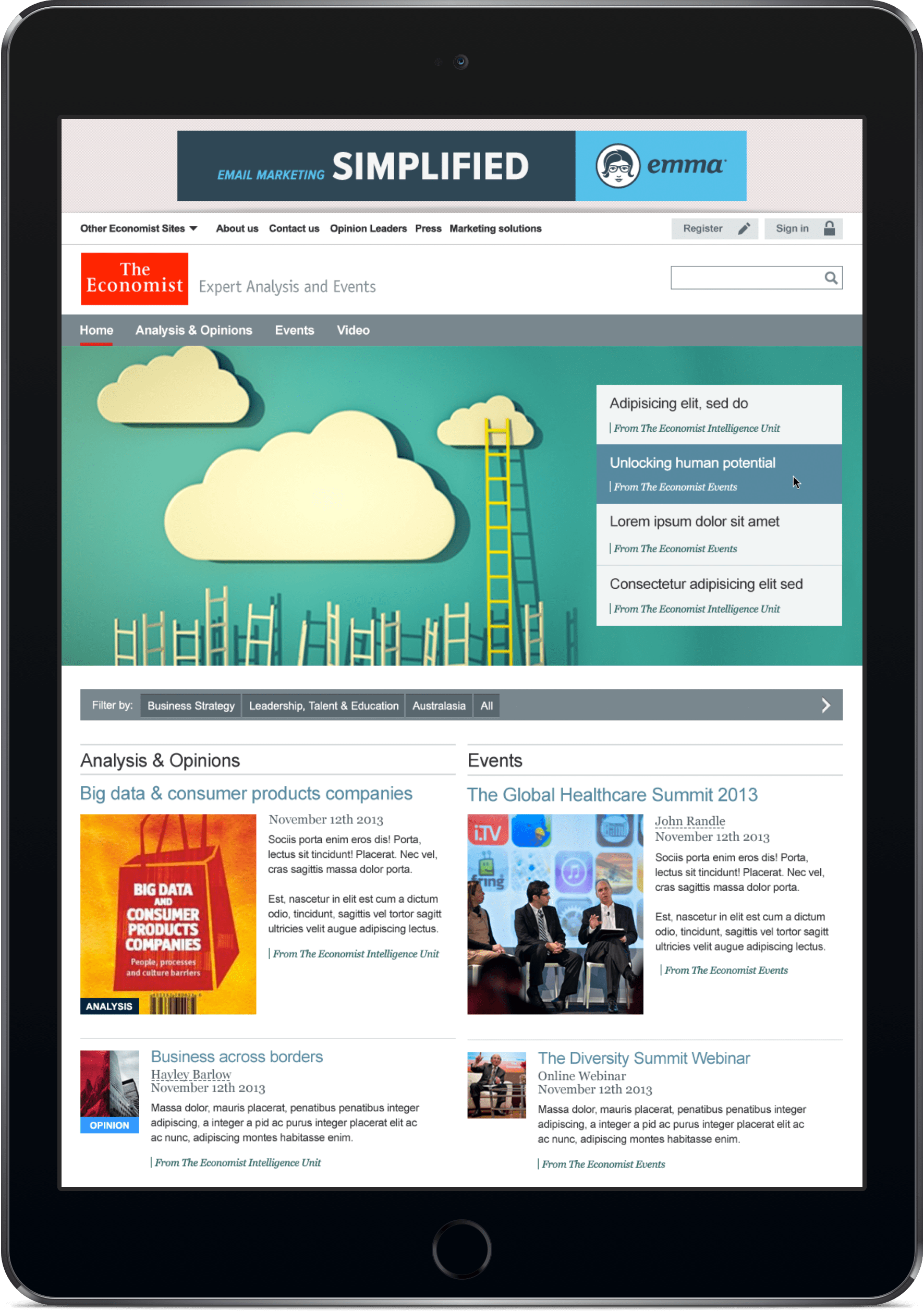 The Economist Events website displayed on an iPad Pro