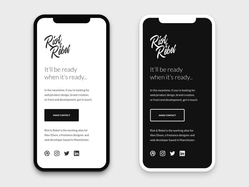 Riot and Rebel Mobile Web Design Concept