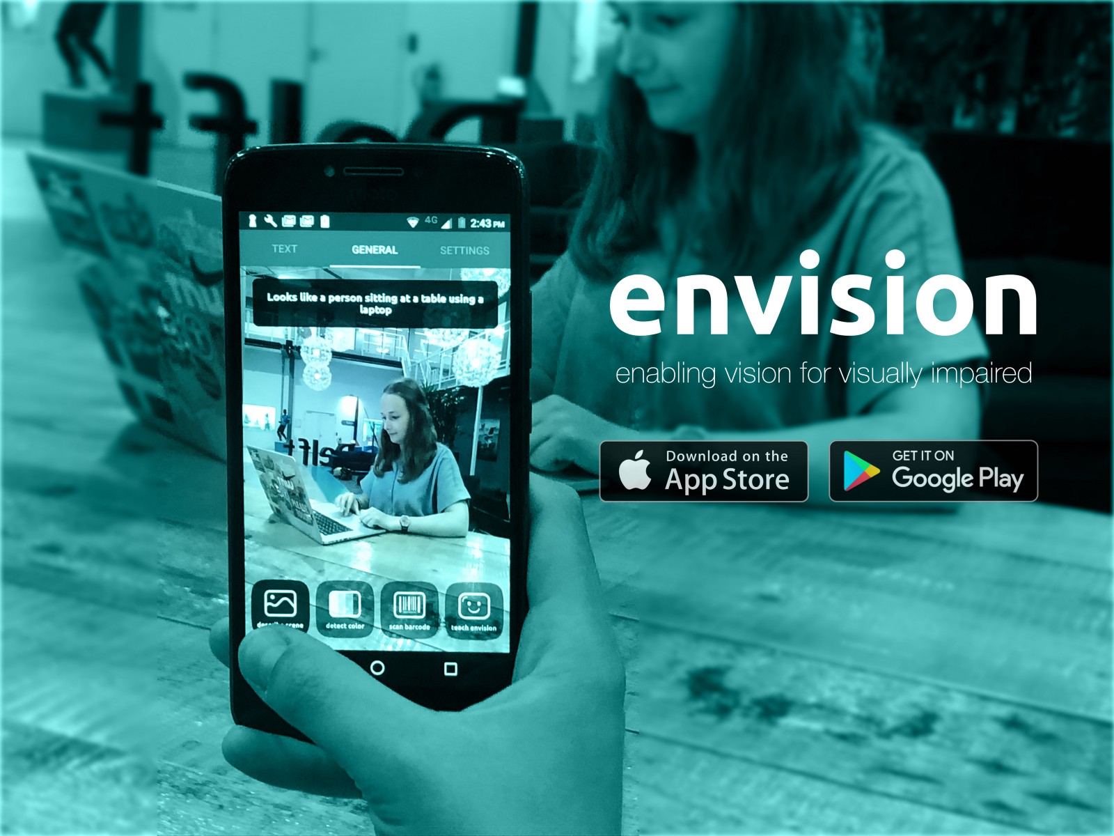 A person using the Scene Description function of Envision on an Android Smartphone