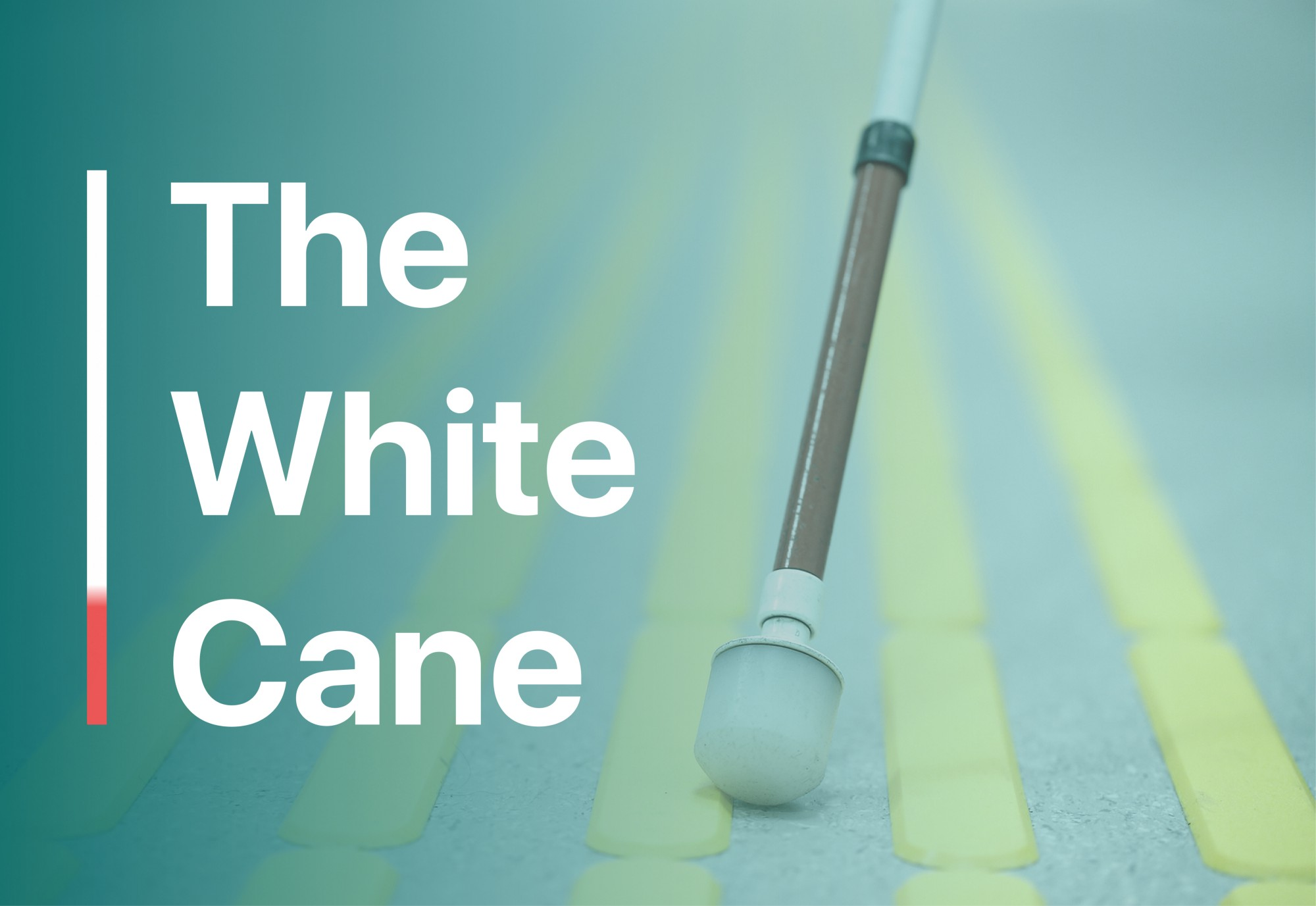 A close up of a white cane with the words 'The White Cane' on the side