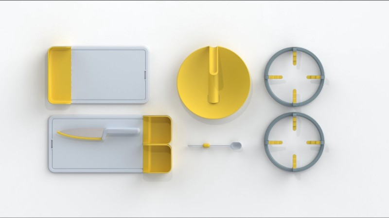Folks Kitchenware (from left to right clockwise): chopping board side tray, pot lid, stove ring, buoyant teaspoon, knife with retractable guards placed on chopping board.