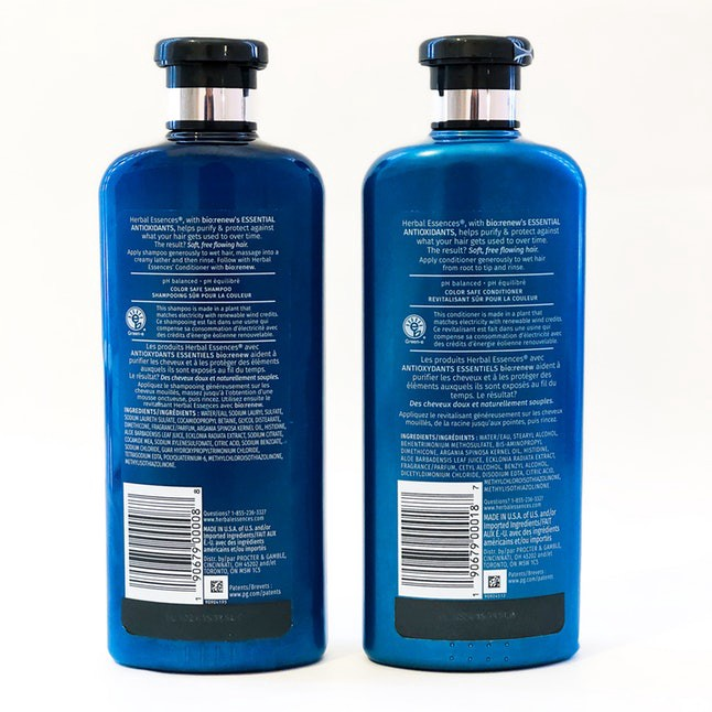 Herbal Essences shampoo and conditioner bottles.