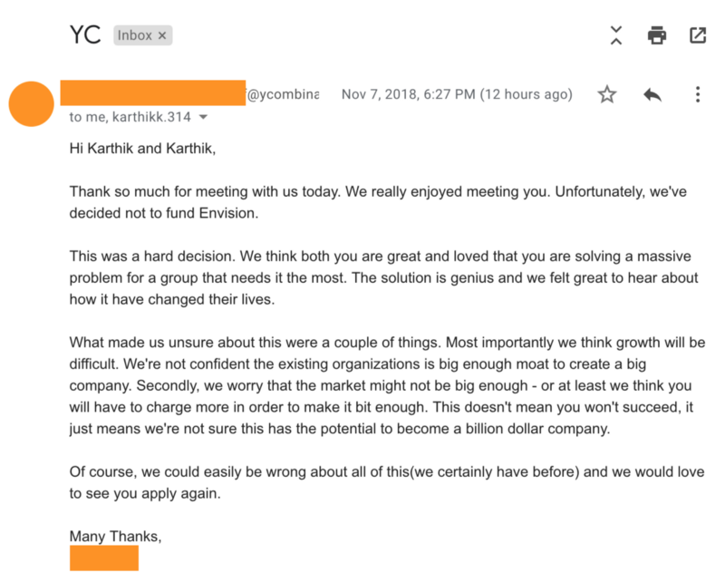 A screenshot of the email sent by the Y Combinator. You can find a readable link in the caption.