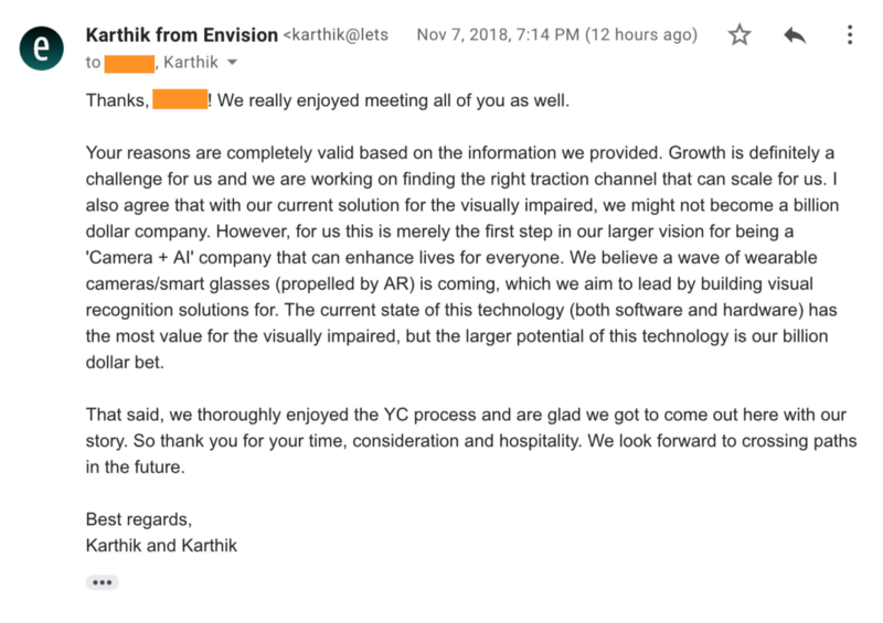 A screenshot of the email sent by Karthik as an answer to the Y Combinator. You can find a readable link in the caption.