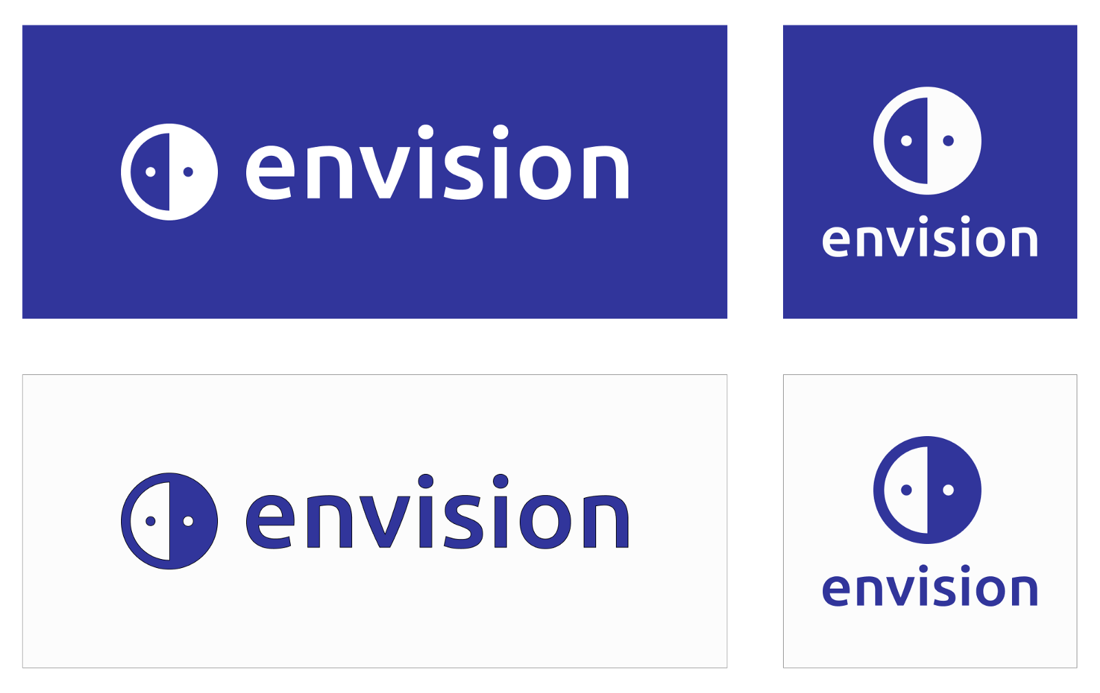 Envision's logo in blue and white backgrounds