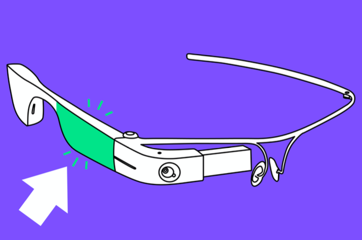 In the image (black and white sketch on purple background), the touchpad is highlighted in green. The touchpad covers a big part of the body that serves as the right earpiece.