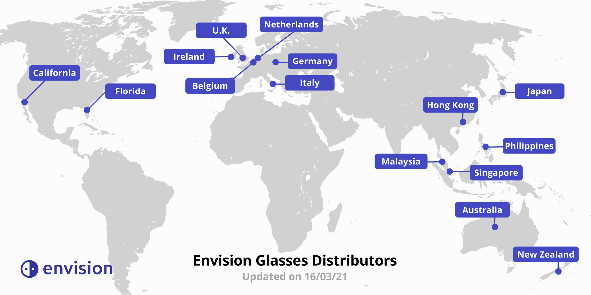 Worldmap showing the different distributors pinned all over the world.