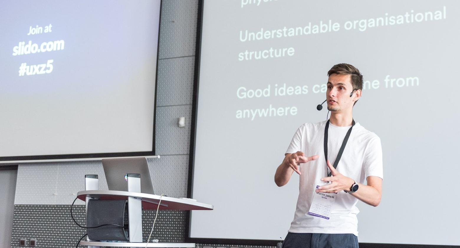 MJ presenting at UXZ conference in Prague