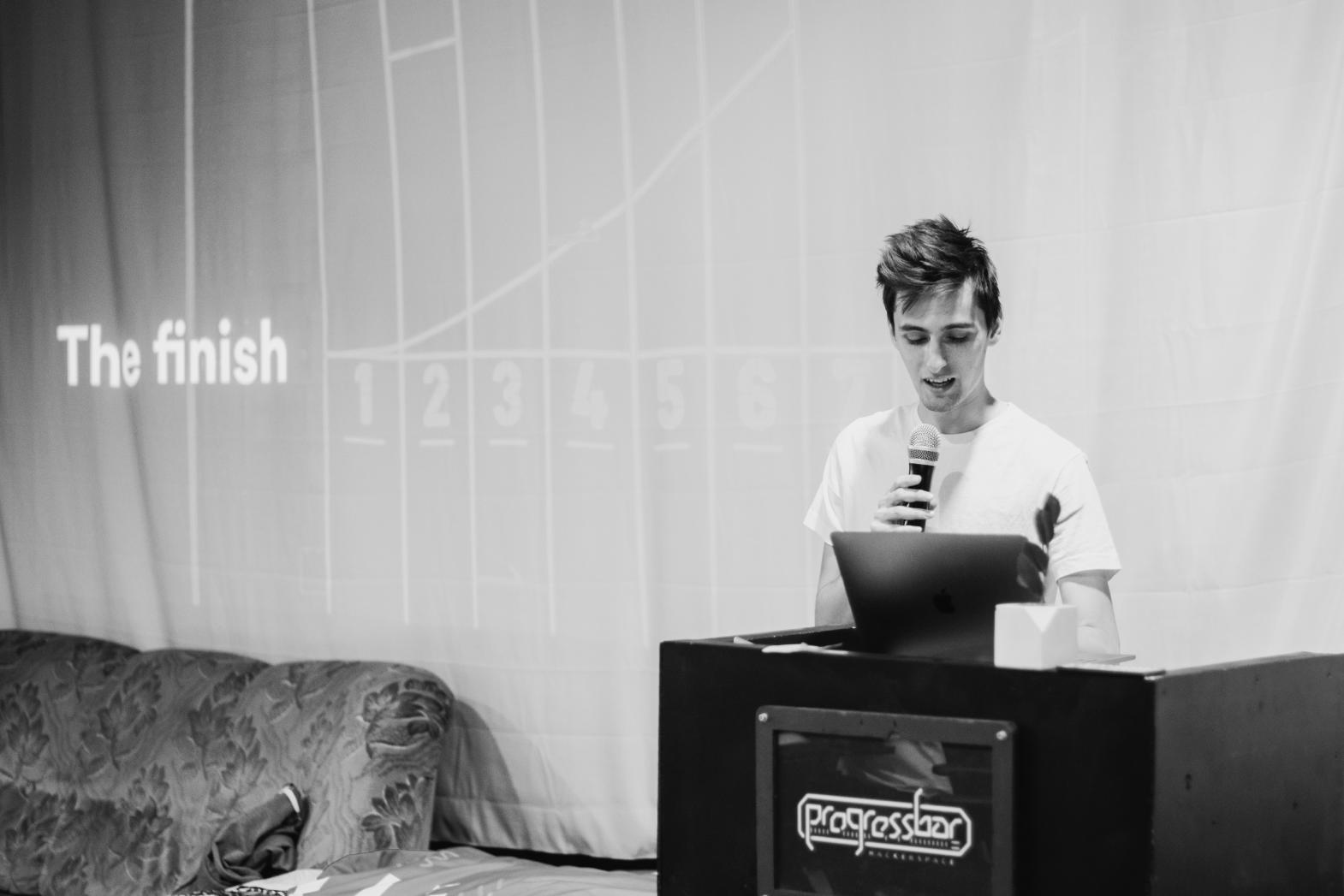 MJ presenting at UX Hackathon in Bratislava