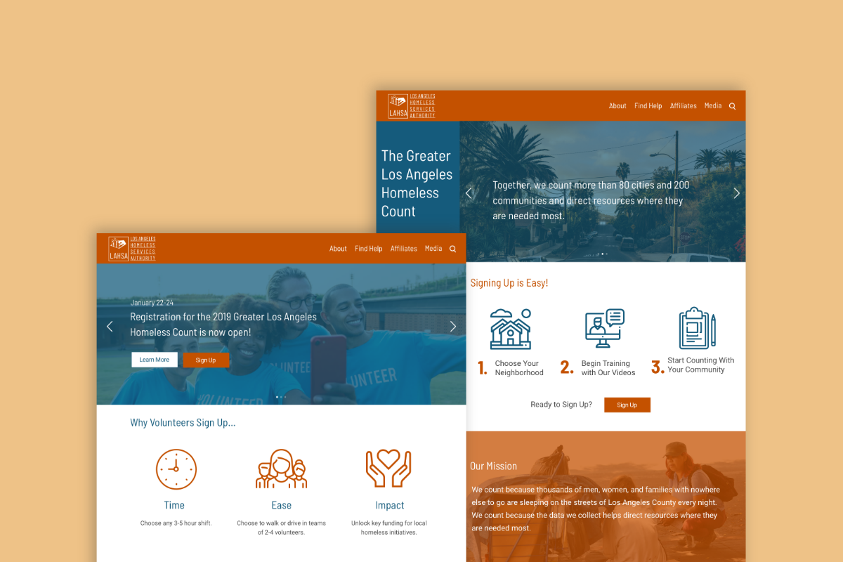 Los Angeles Homeless Services Authority Mockups