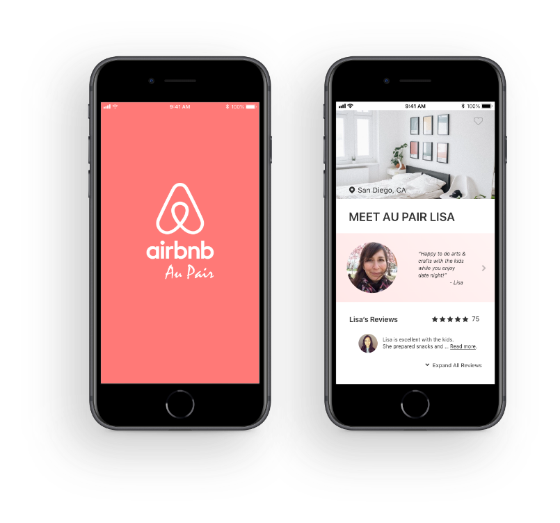High fidelity ux/ui mobile design mockups for Airbnb Au Pair Case Study