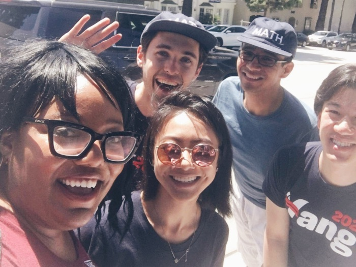 Volunteers for the Andrew Yang presidential campaign canvassing at the Burbank Farmers Market