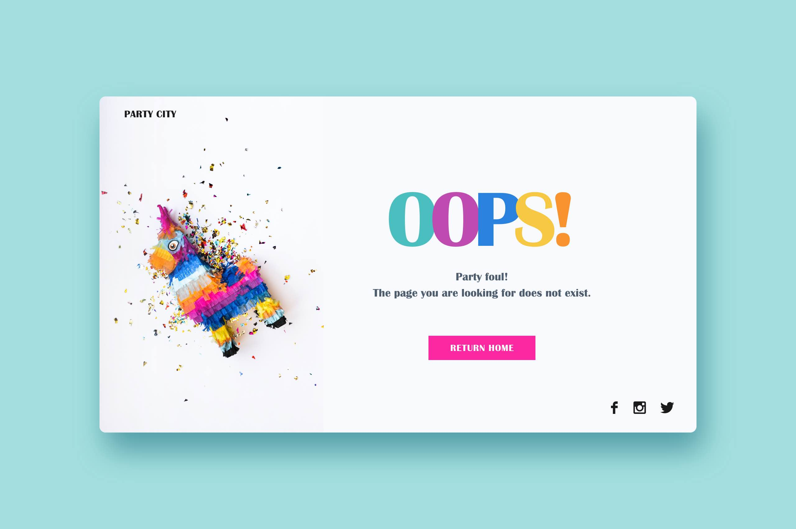 Daily UI 8 - 404 Error, Party Store