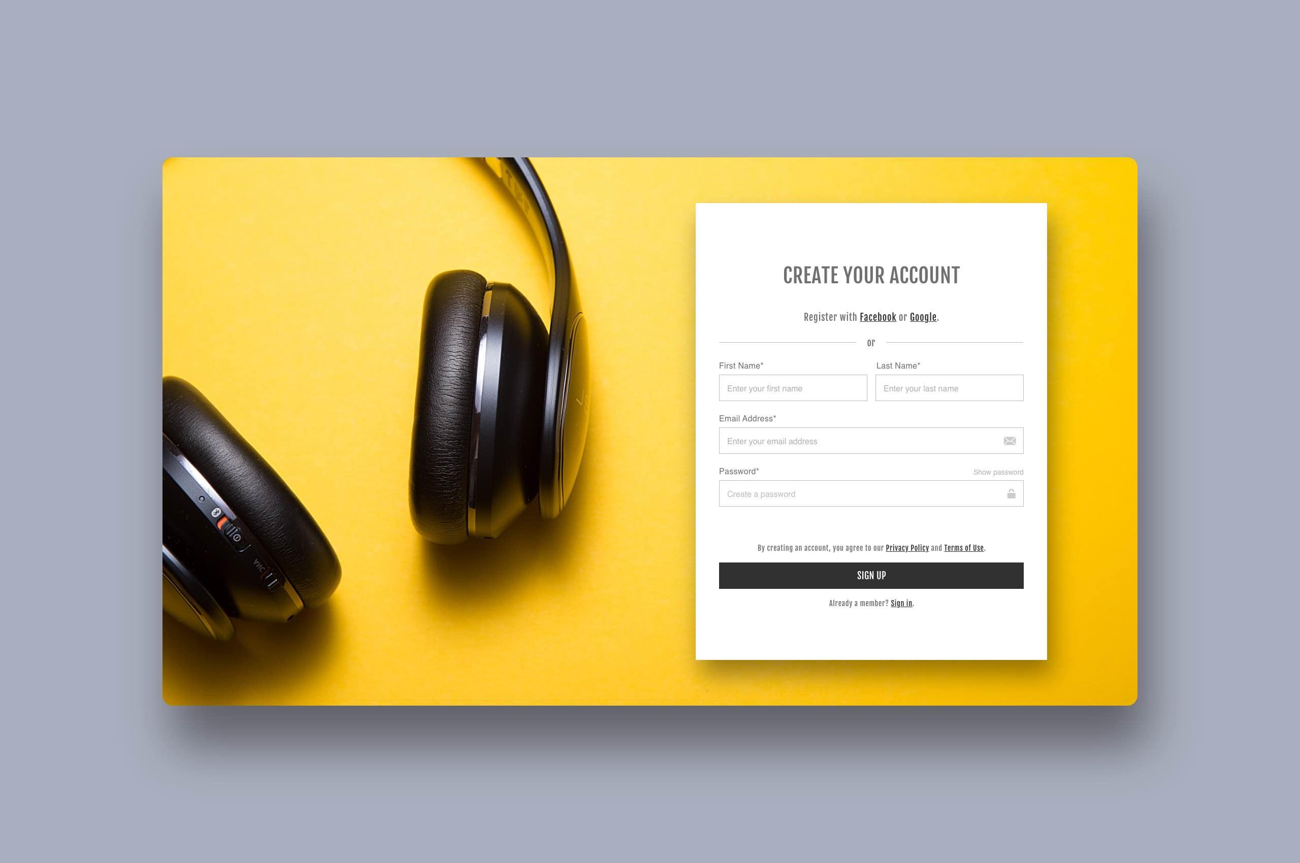 Daily UI 1 - Sign Up, Music Platform
