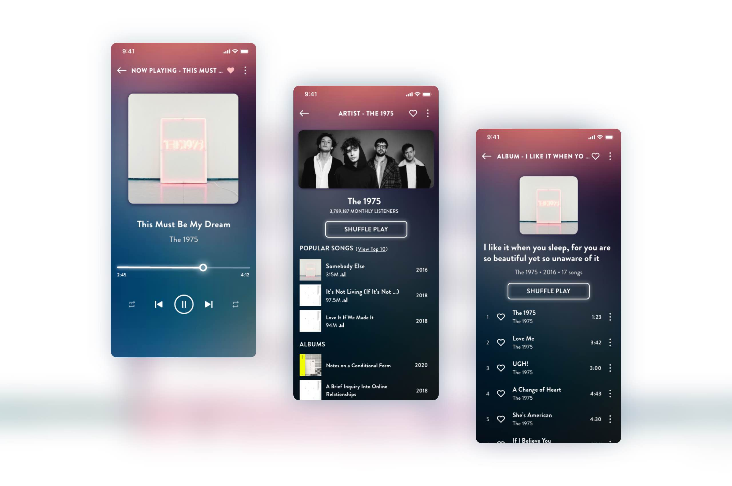 Daily UI 9 - Music Player, The 1975