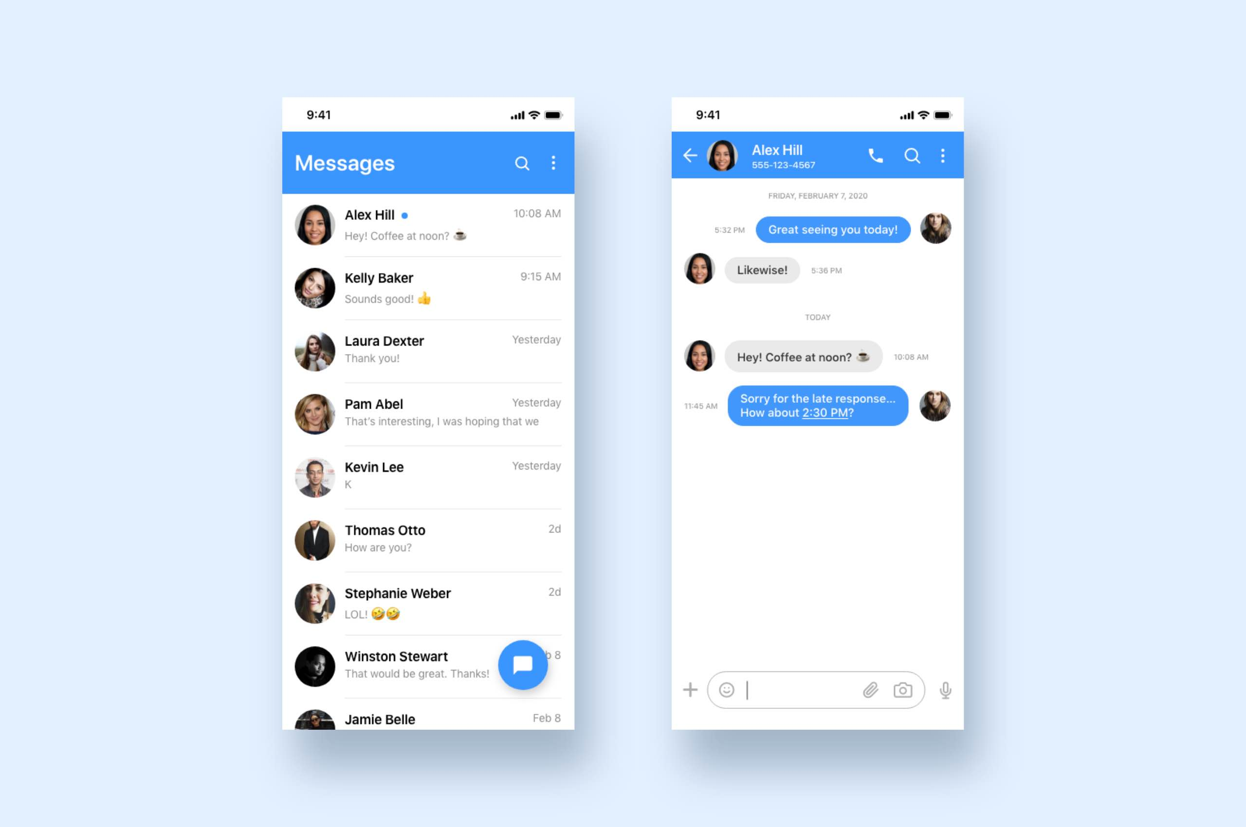 Daily UI 13 - Direct Messaging, Mobile Chat