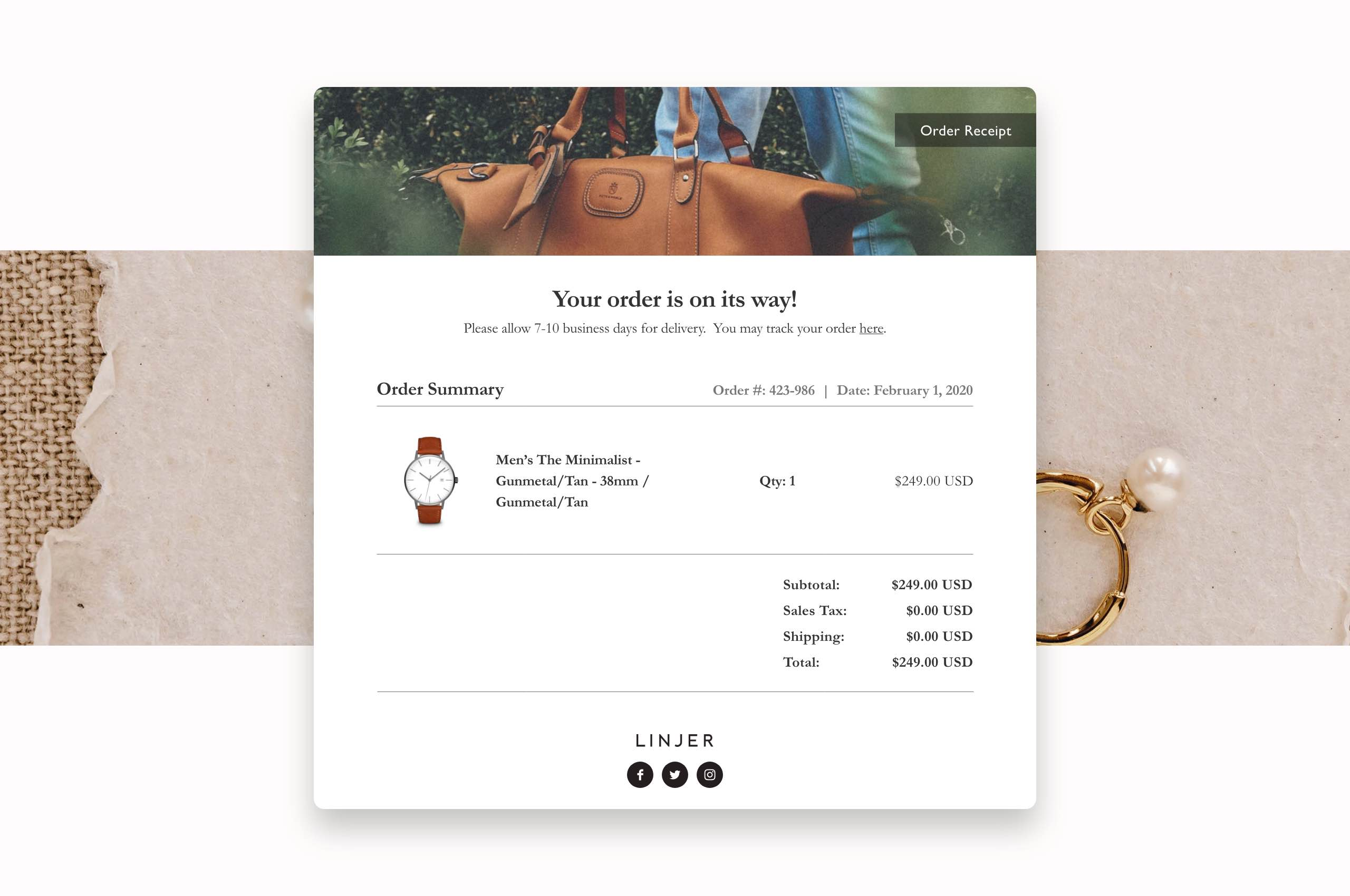 Daily UI 17 - Email Receipt for Linjer Ecommerce