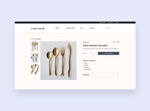High-fidelity mockup for an ecommerce website selling eco-friendly products