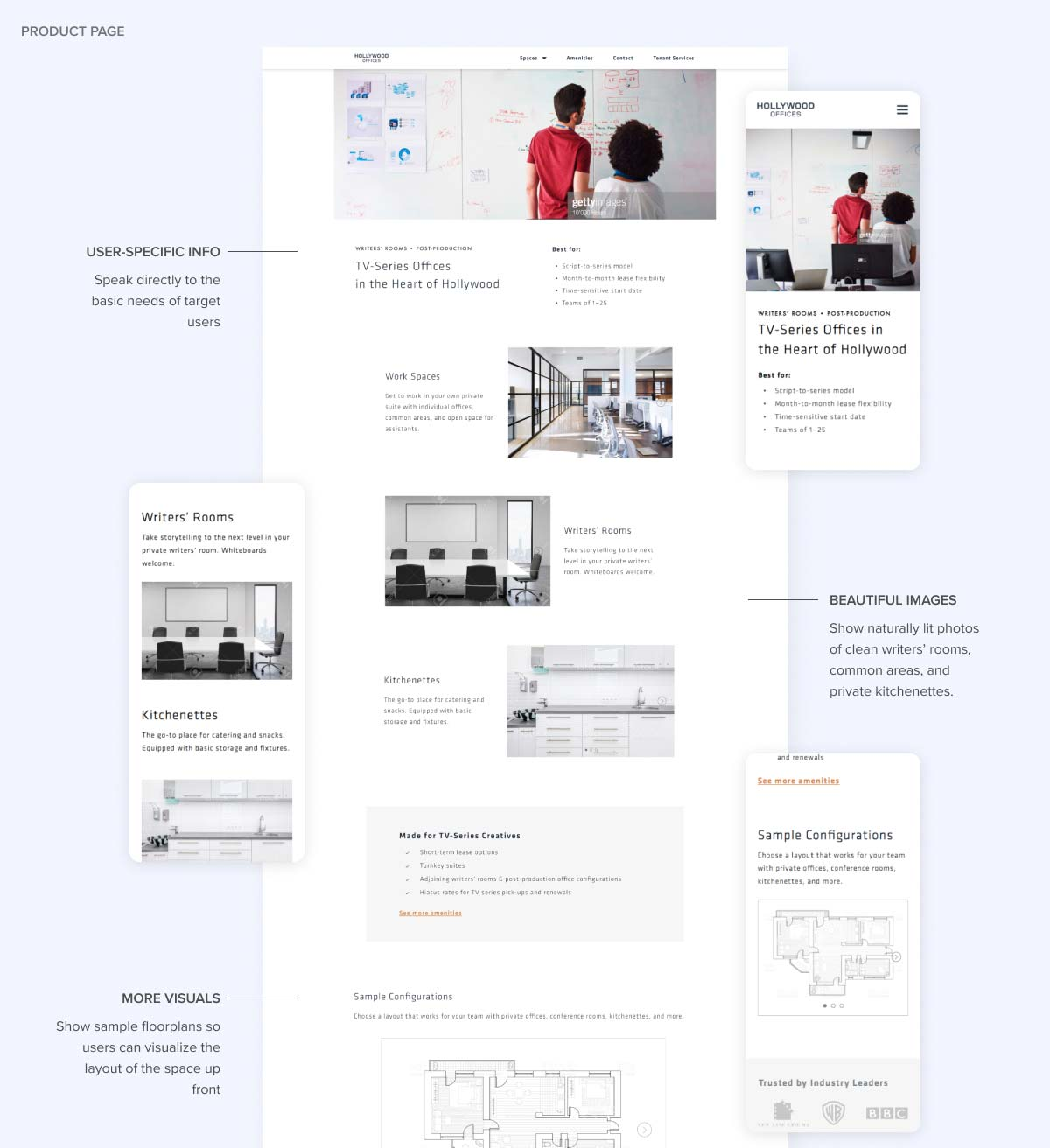 High-fidelity desktop and mobile mockups for the product page, redlined with improvements