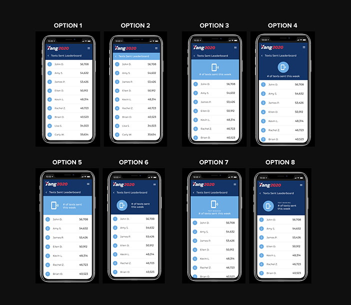 Mobile mockups for 8 leaderboard options
