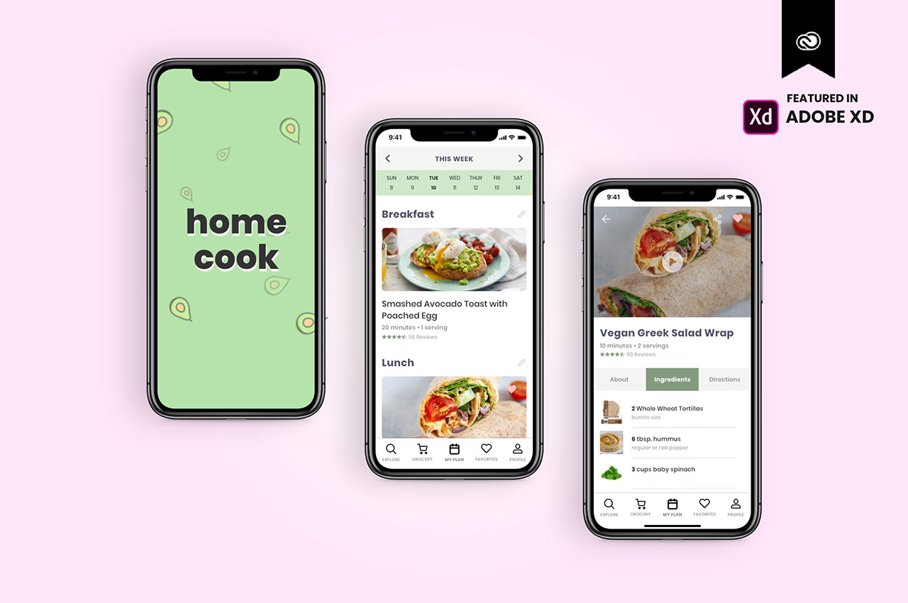 High-fidelity mobile mockups for a meal planning app concept created in Adobe XD
