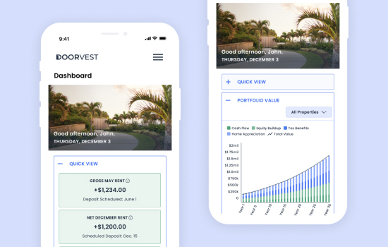 High-fidelity mobile mockups of financial data points shown