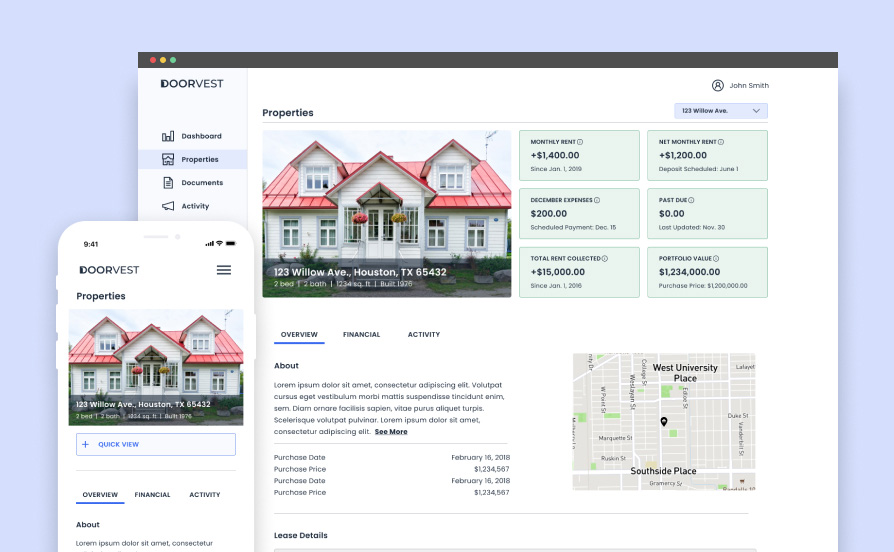 High-fidelity desktop and mobile mockups of the properties page