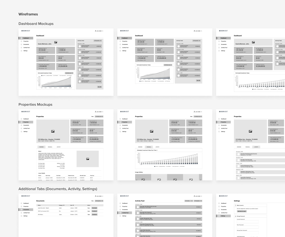Doorvest investor portal desktop wireframes