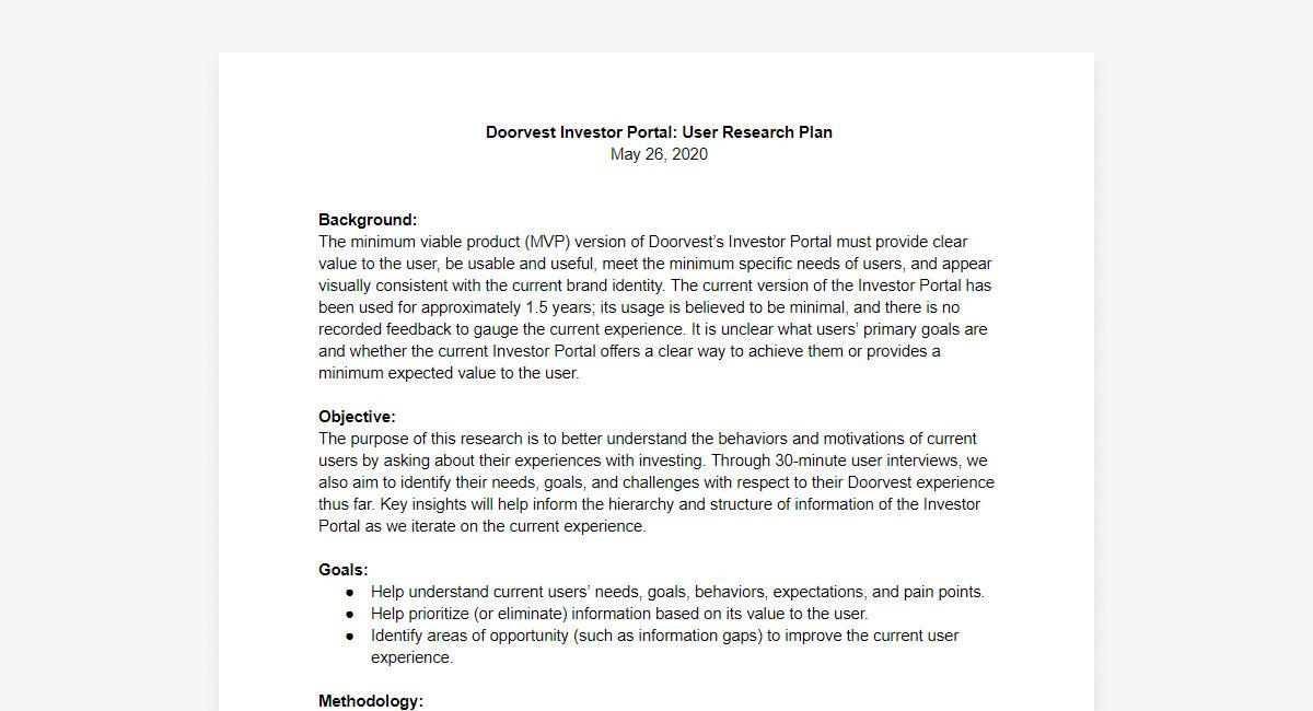 Doorvest investor portal user research plan document