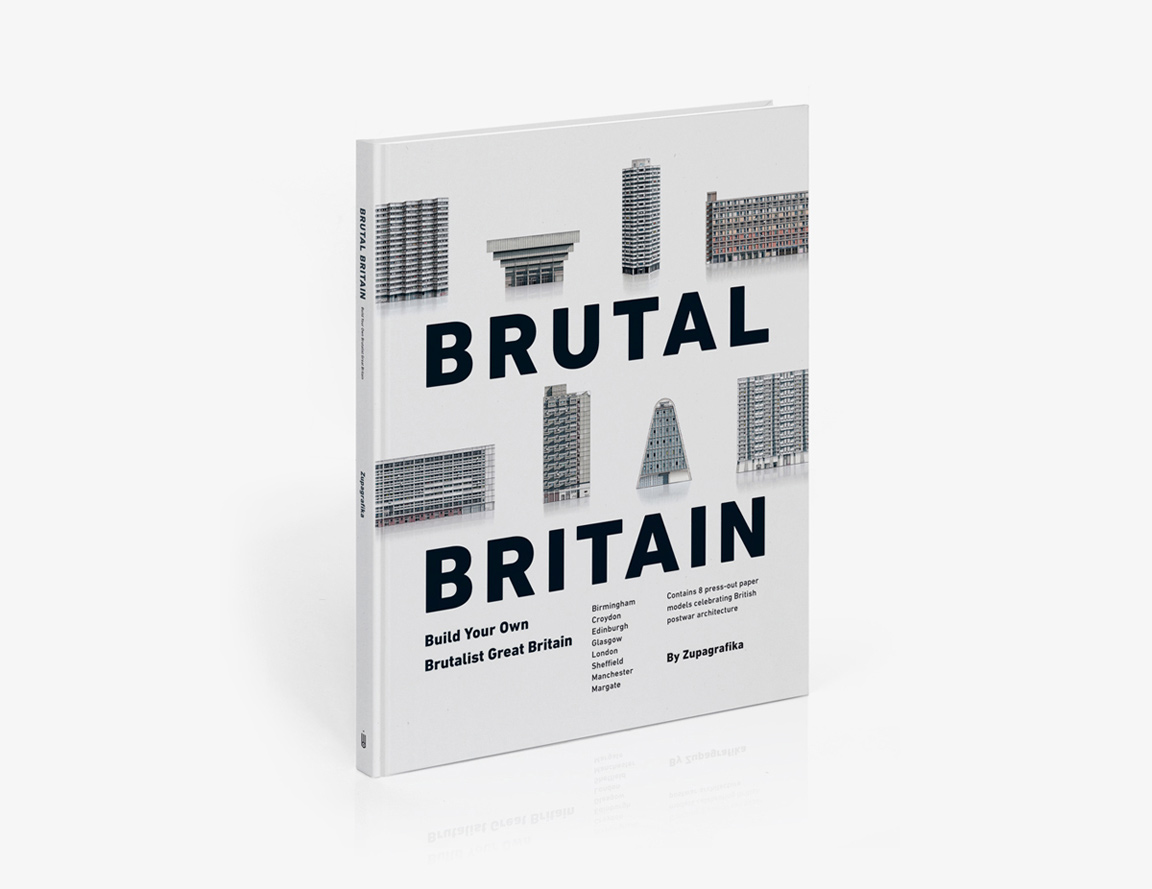 Brutal Britain, pop-out brutalist paper model book by Zupagrafika