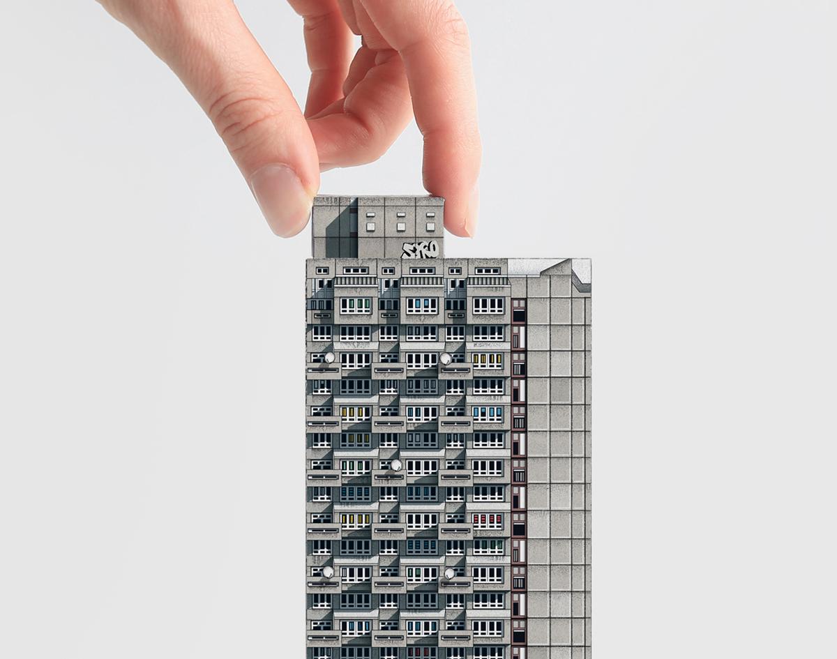 Mini brutalist model: Cotton Gardens Estate. London