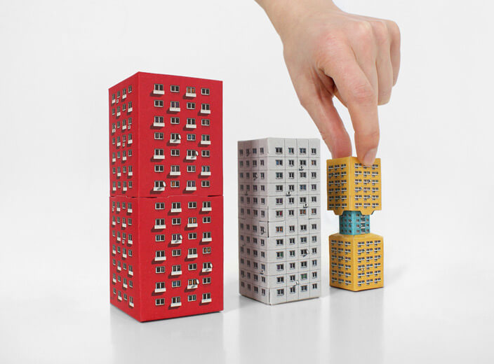 Blokoshka: Modernist Architectural Matryoshka. A mini brutalist architecture Russian nesting doll made pop-out cardboard pieces