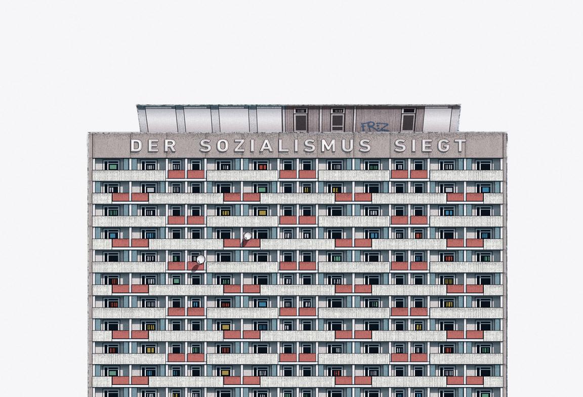 Der Sozialismus Siegt. Mini Hochhaus Pirnaischer Platz. Dresden. From Modern East by Zupagrafika