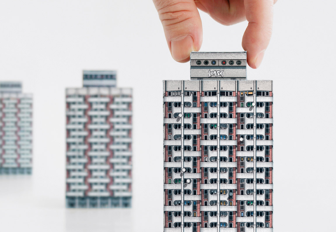 Scale model of 'Manhattan' Housing Complex. Wrocław (Poland). Completed in 1973, Grabowska-Hawrylak's complex rises in Grunwaldzki Square.