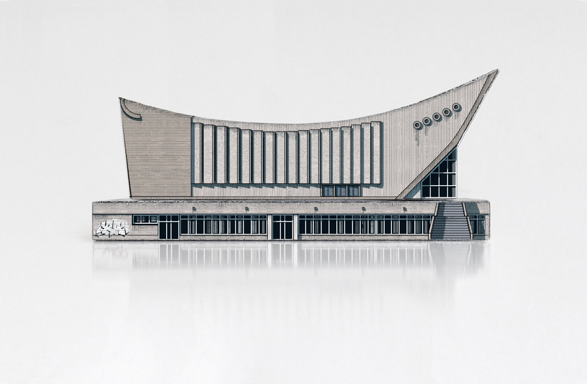 Paper model of Vilnius Palace of Concerts and Sports, also known as the Sporto Rūmai, in Vilnius, Lithuania.