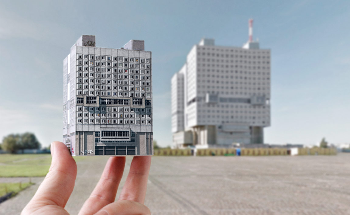 "Replica of House of Soviets (Kaliningrad), aka ""buried robot"" by Yulian L. Shvartsbreim."