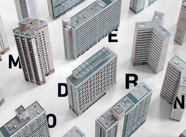 Brutal East: Build Your Own Brutalist Eastern Bloc. Paper cut-out models celebrating post-war architecture of Central and Eastern Europe