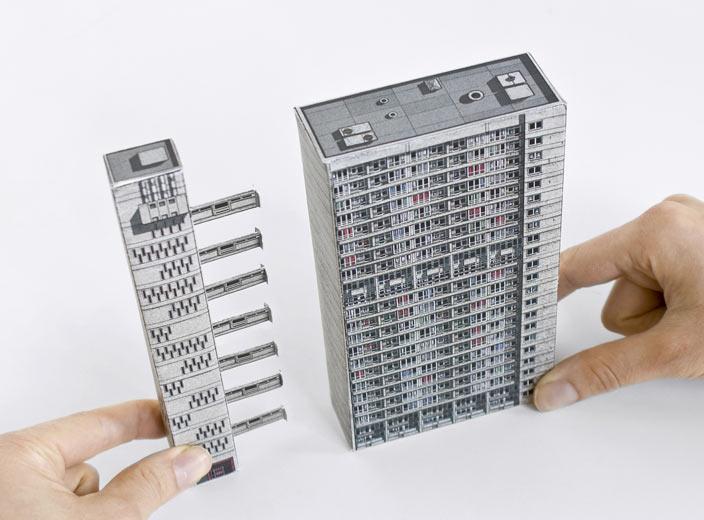 Brutalist paper model kits